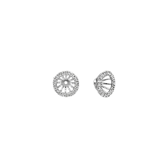Layered Round Diamond Earring Jackets with Milgrain