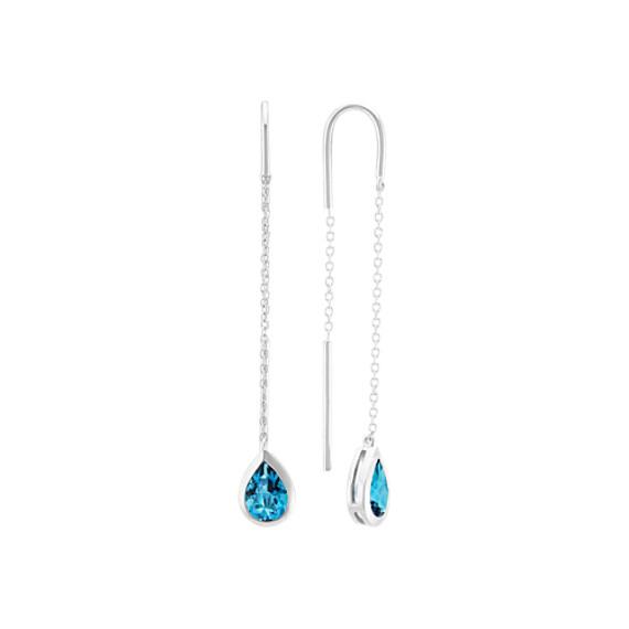 London Blue Topaz Threader Earrings in Sterling Silver