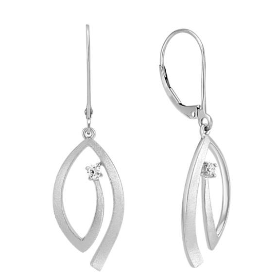 Modern Diamond and Sterling Silver Earrings