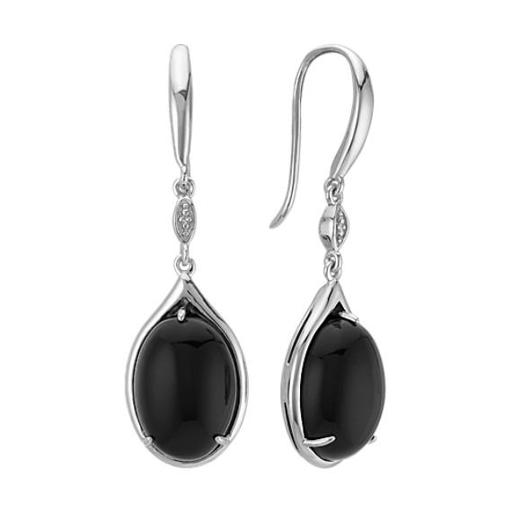 Oval Black Agate and Sterling Silver Earrings