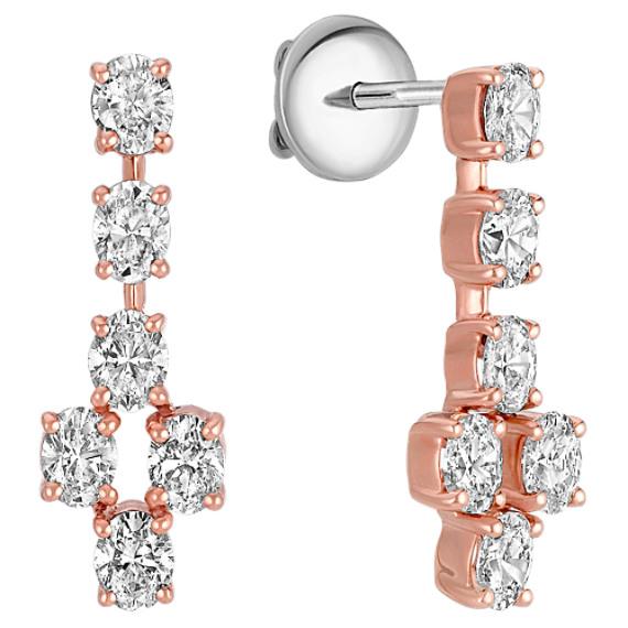Oval Diamond Dangle Earrings in Rose Gold