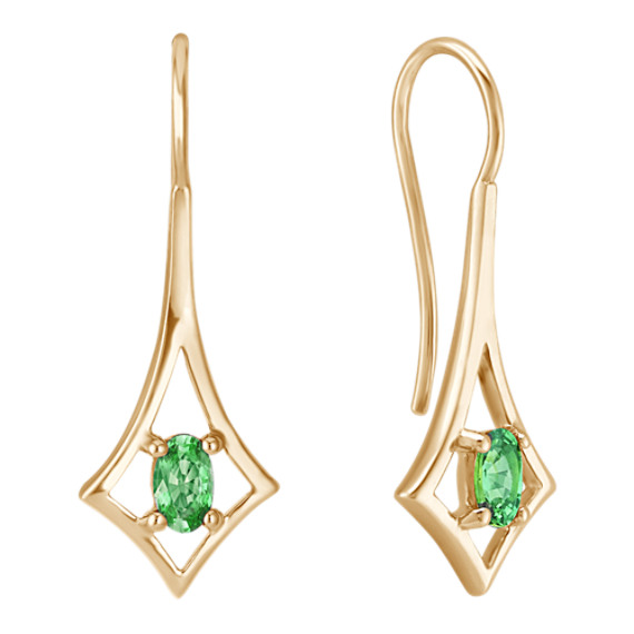 Oval Green Sapphire Earrings