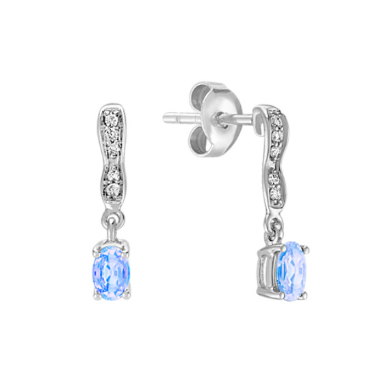 Oval Ice Sapphire and Round Diamond Earrings