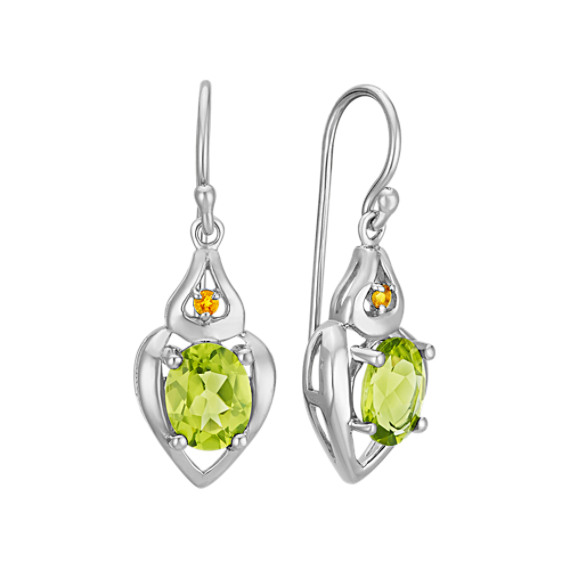 Oval Peridot and Round Citrine Earrings in Sterling Silver