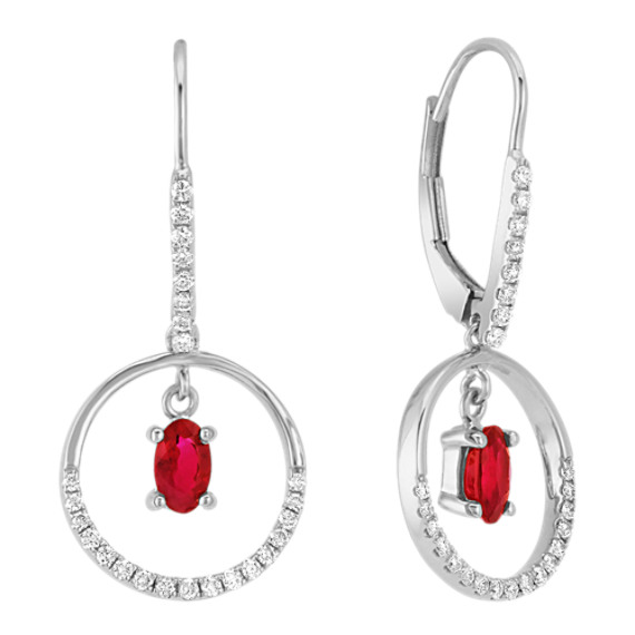 Oval Ruby and Diamond Earrings