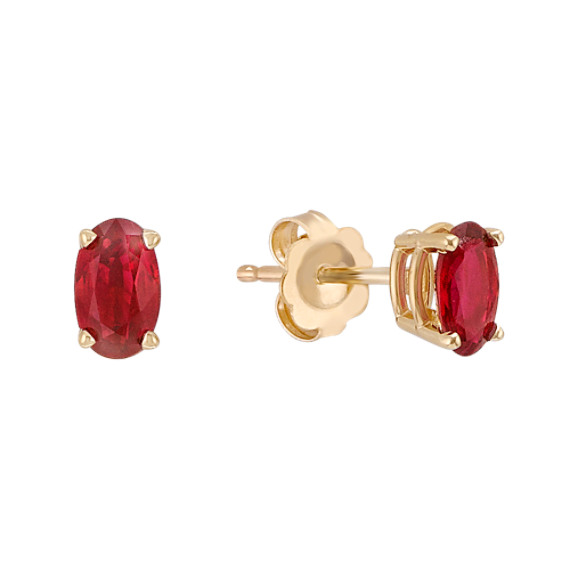 Oval Ruby Earrings