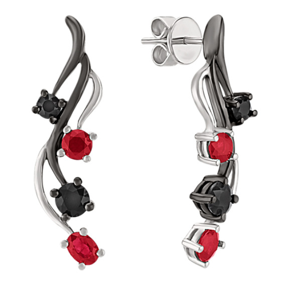 Oval Ruby, Round Ruby and Black Sapphire Earrings