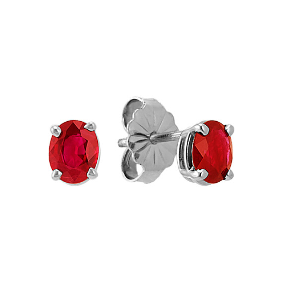 Oval Ruby Solitaire Earrings
