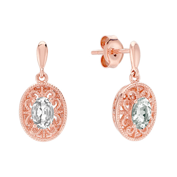 Oval White Sapphire Earrings in 14k Rose Gold