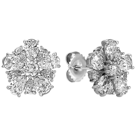Pear-Shaped and Round Diamond Earrings