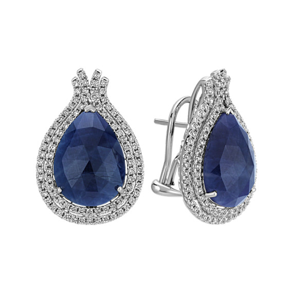 Pear Shaped Cabochon Sapphire and Diamond Earrings