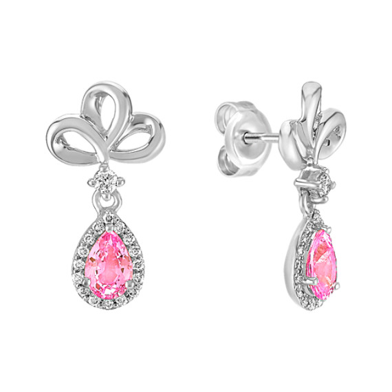 Pear-Shaped Pink Sapphire and Round Diamond Earrings