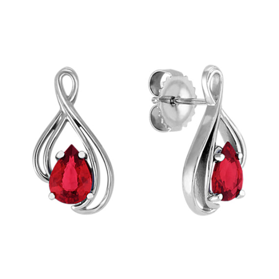 Pear-Shaped Ruby Earrings