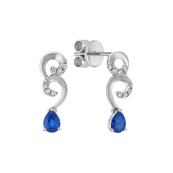 Pear-Shaped Sapphire and Diamond Earrings