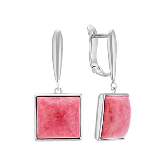 Pink Rhodonite and Sterling Silver Leverback Earrings