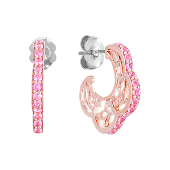 Pink Sapphire and 14k Rose Gold Hoop Earrings