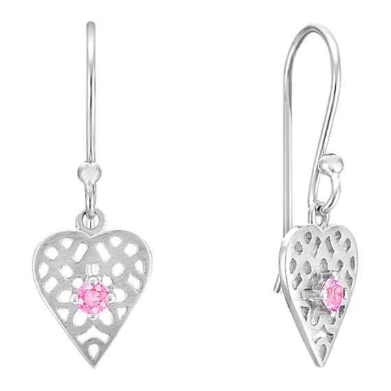 Pink Sapphire and Sterling Silver Dangle Heart Earrings