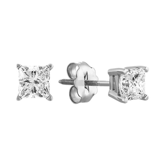 Princess Cut Diamond Solitaire Earrings