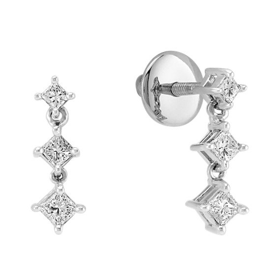 Princess Cut Diamond Three-Stone Earrings