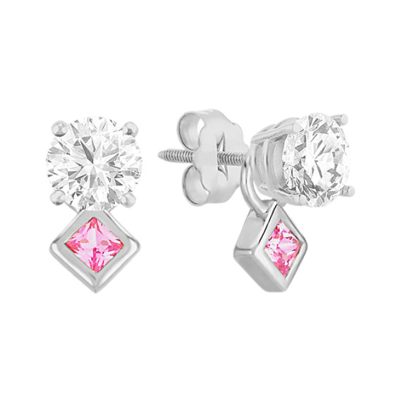 Princess Cut Pink Sapphire Earring Jackets with Bezel Setting