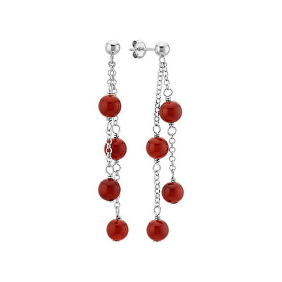 Red Carnelian Dangle Earrings in Sterling Silver