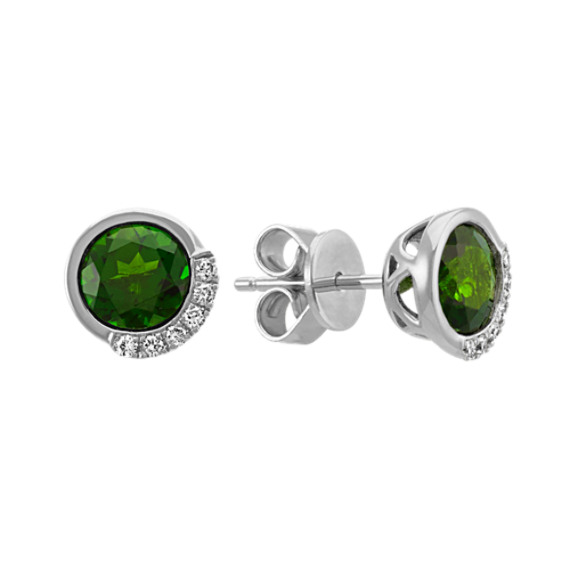 Round Chrome Diopside and Diamond Earrings in Sterling Silver