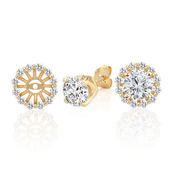 Round Diamond Basket Earring Jackets in 14k Yellow Gold