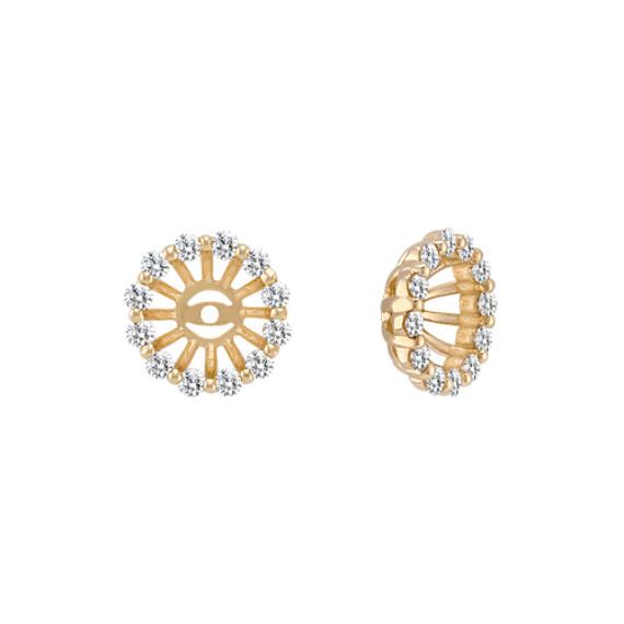 Round Diamond Basket Earring Jackets in 14k Yellow Gold
