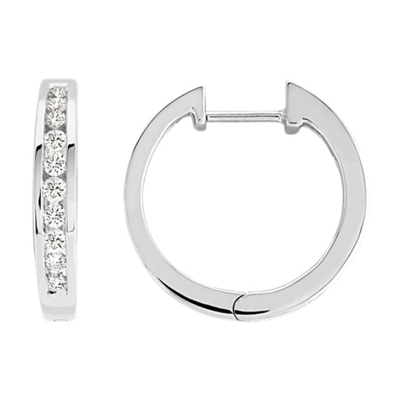 Round Diamond Channel-Set Earrings in 14k White Gold