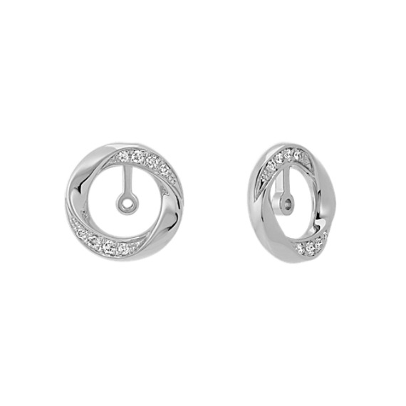 Round Diamond Circle 2-in-1 Earring Jackets in 14k White Gold