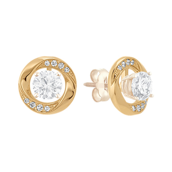Round Diamond Circle 2-in-1 Earring Jackets in 14k Yellow Gold