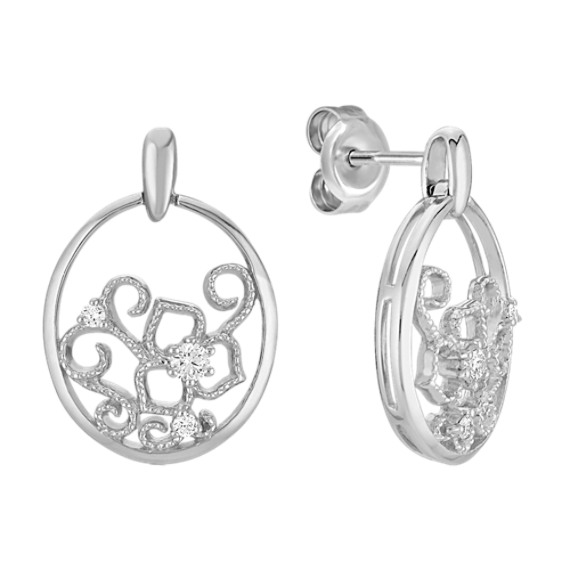 Round Diamond Circle Earrings in Sterling Silver