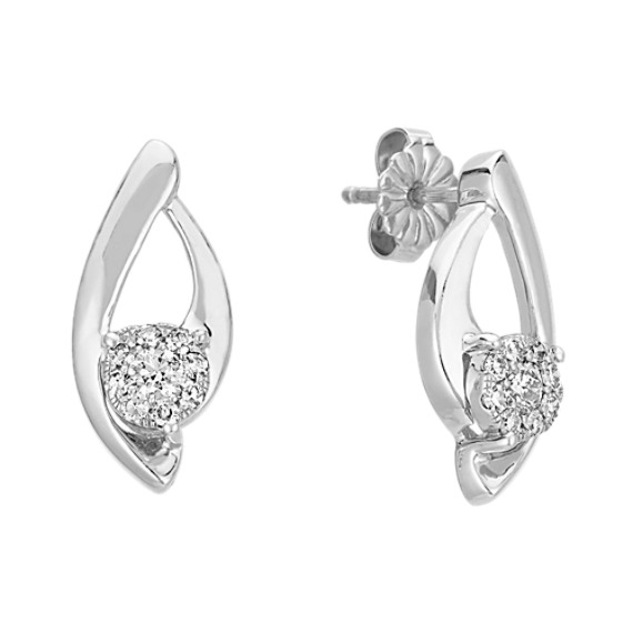 Round Diamond Cluster Curved Earrings