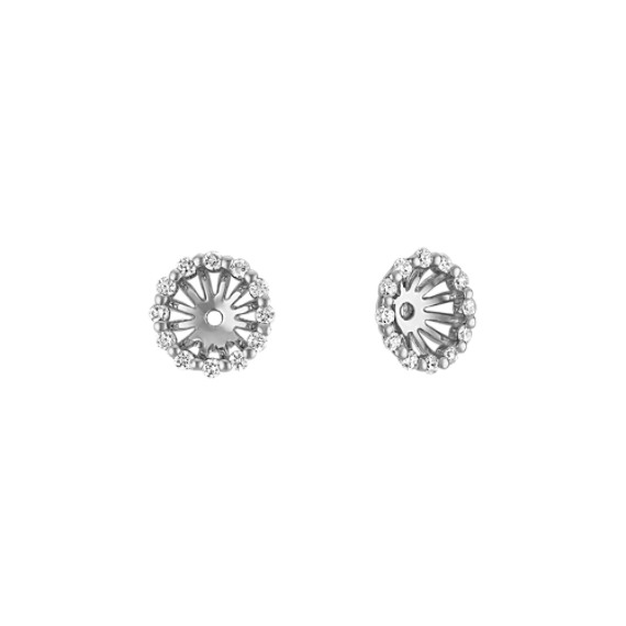Round Diamond Earring Jackets in White Gold