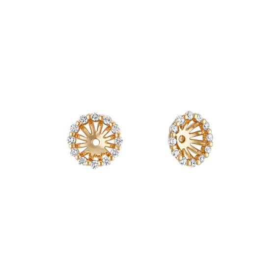 Round Diamond Earring Jackets in Yellow Gold
