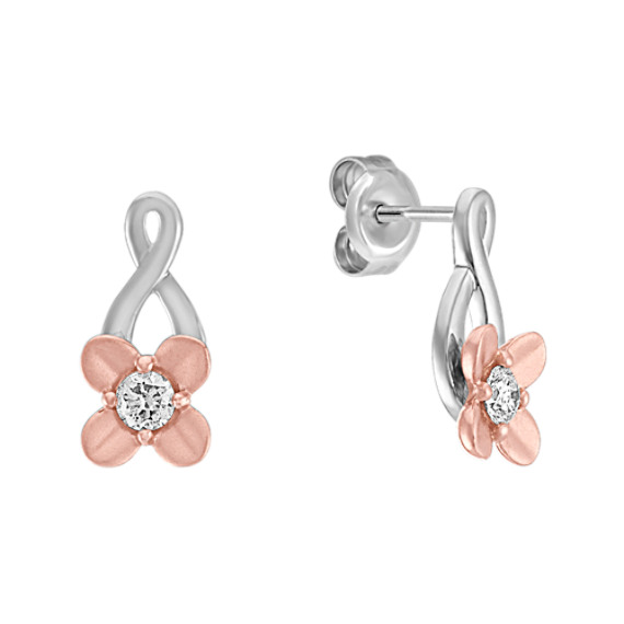 Round Diamond Earrings in Sterling Silver and 14k Rose Gold