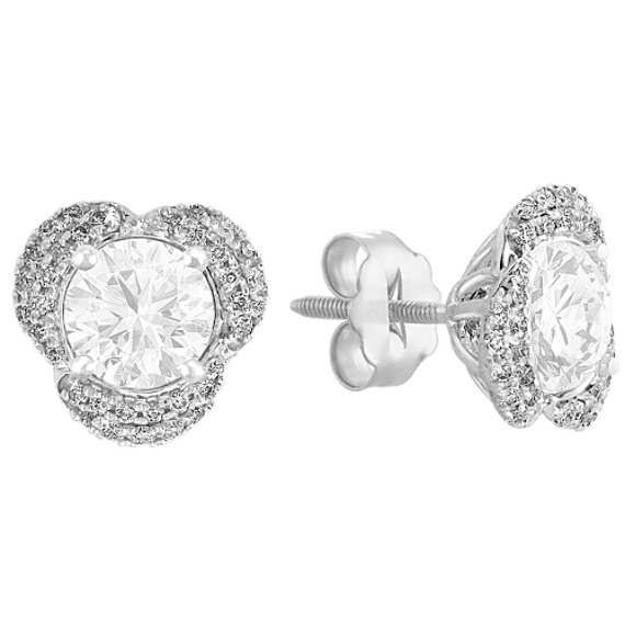 Round Diamond Floral Earring Jackets