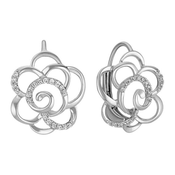 Round Diamond Flower Leverback Earrings