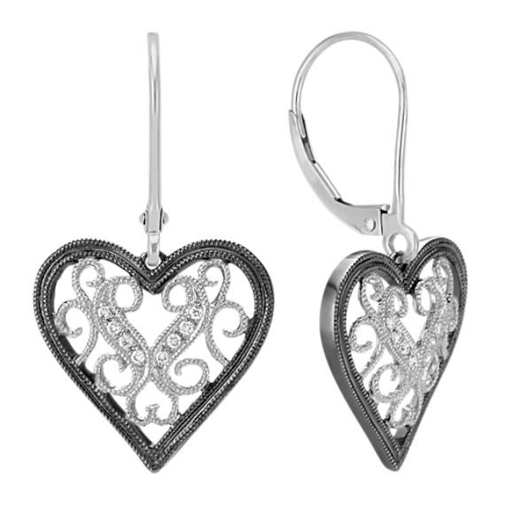 Round Diamond Heart Leverback Earrings