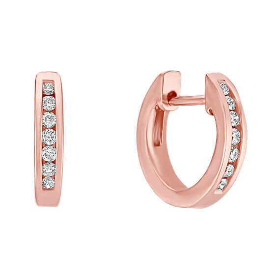Round Diamond Hoop Earrings in 14k Rose Gold