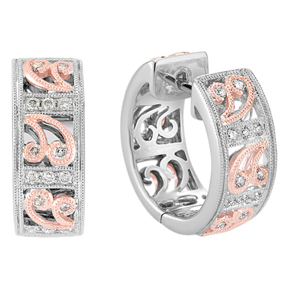Round Diamond Hoop Earrings in 14k White and Rose Gold