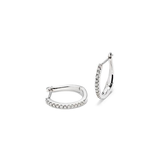 Round Diamond Hoop Earrings in 14k White Gold