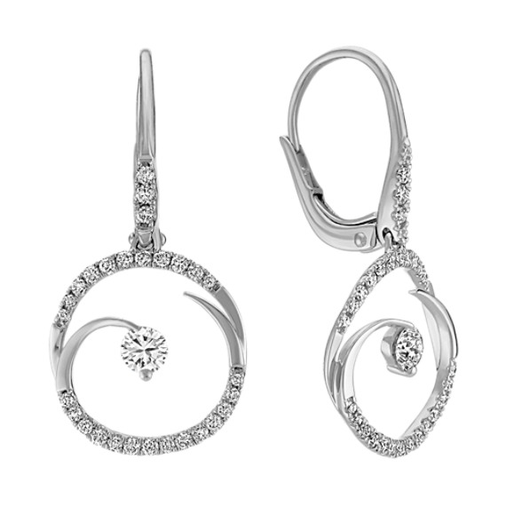 Round Diamond Leverback Earrings