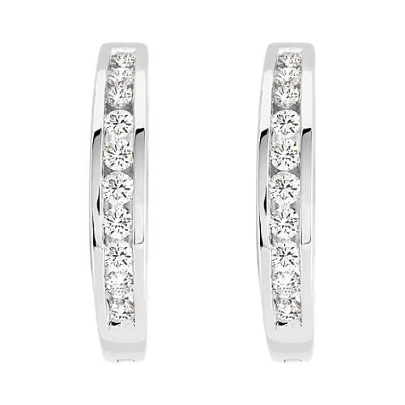 Round Diamond Lined Earrings