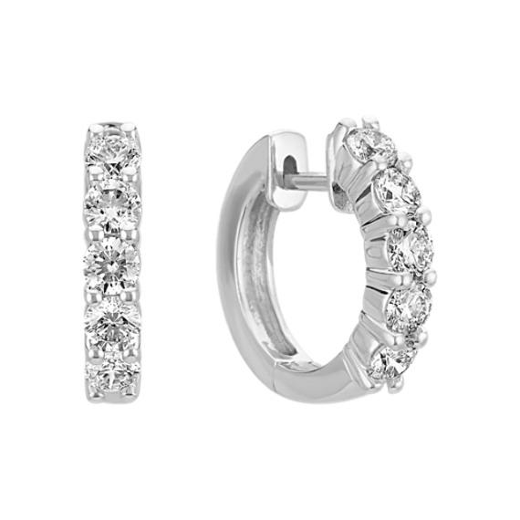 Round Diamond Ten Stone Hoop Earrings