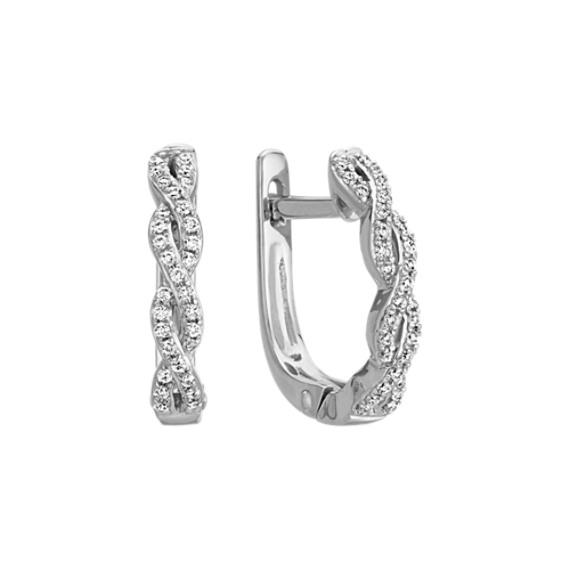Round Diamond Twist Hoop Earrings