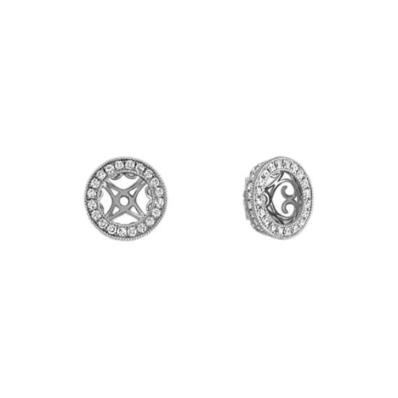 Round Diamond Vintage Earrings Jackets in 14k White Gold