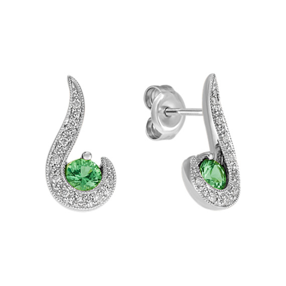 Round Green Sapphire and Diamond Earrings