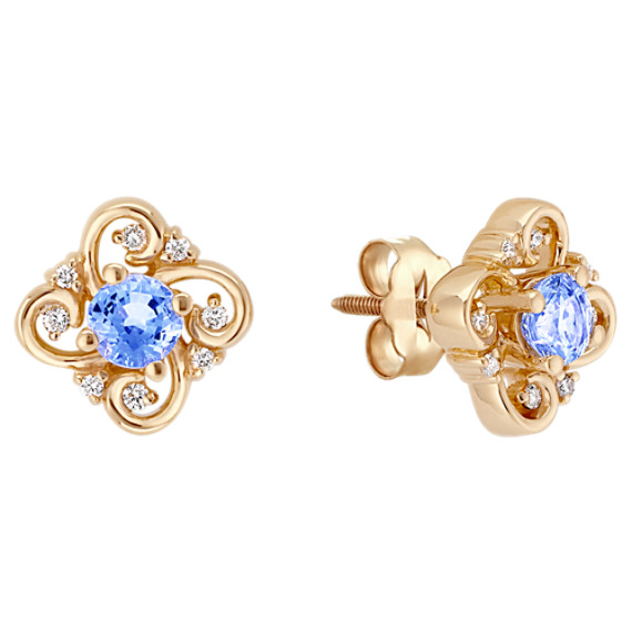 Round Ice Blue Sapphire and Diamond Earrings