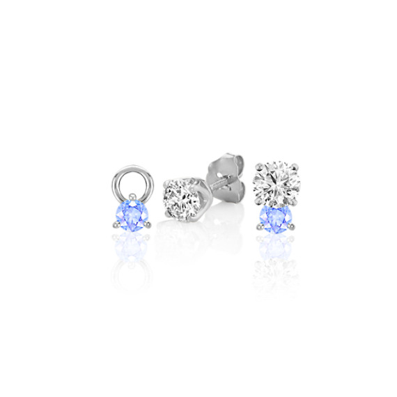 Round Ice Blue Sapphire Earring Jackets